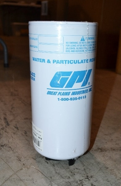 Gas Trailer water & particulate filter